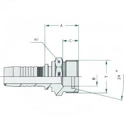 RACCORD MALE SERIE FRANCAISE METRIQUE PN 08 AGF 13  20X150