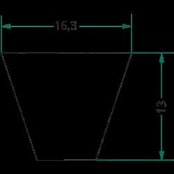 COURROIE TRAPÉZOÏDALE  SPB 1650 LG 1650 MM