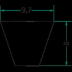 COURROIE TRAPÉZOÏDALE  SPZ 1650 LG 1650 MM