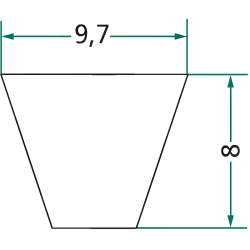 COURROIE TRAPÉZOÏDALE  SPZ 1090 LG 1090 MM