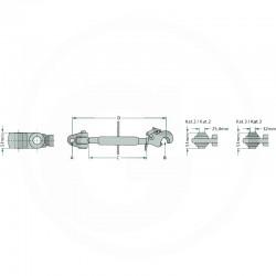 BARRE DE POUSSEE M36 X 3 - L630/870 - CATEGORIE 2/3